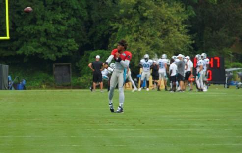 Cam Newton preps for Monday's practice.