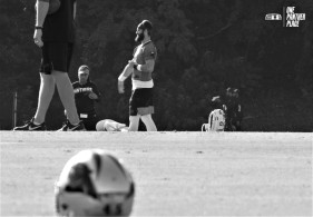 Will Grier warming up.